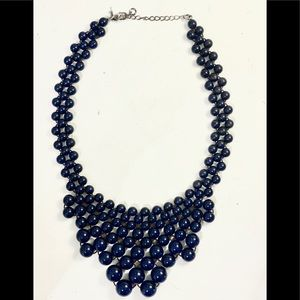 Vintage blue choker beaded necklace 18""